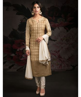 brown embroidered chanderi readymade suits
