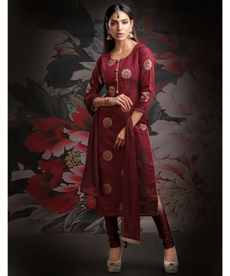 maroon embroidered jacquard readymade suits
