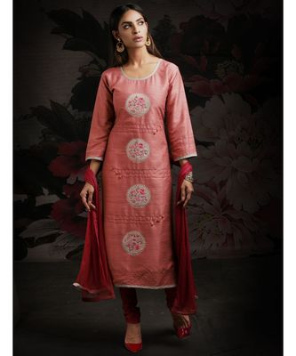 pink embroidered Chanderi readymade suits