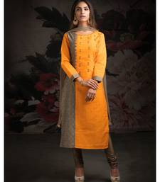 orange embroidered cotton readymade suits