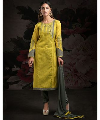 green embroidered jacquard readymade suits