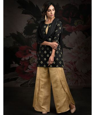black embroidered chanderi readymade suits