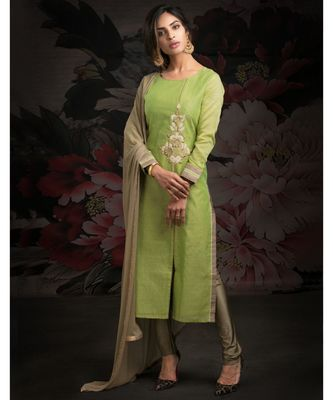 green embroidered Chanderi readymade suits