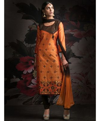orange embroidered Chanderi readymade suits