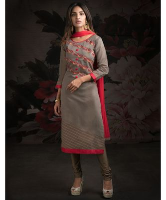 grey embroidered Chanderi readymade suits