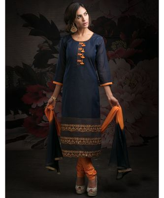 blue embroidered Chanderi readymade suits
