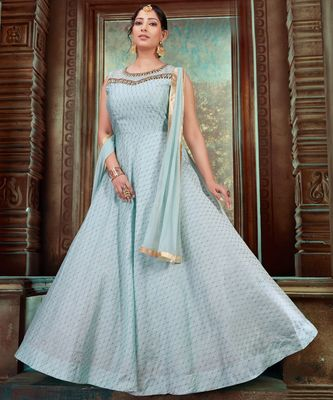 turquoise embroidered Chanderi readymade suits