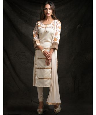 white embroidered tussar silk readymade suits