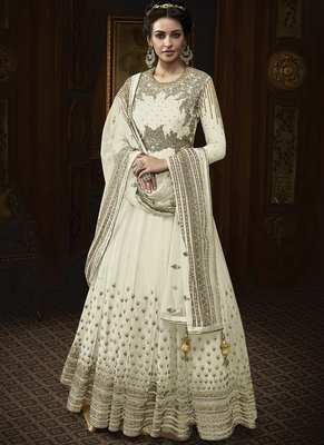 Off White Embroidered Net Semi Stitched Salwar With Dupatta