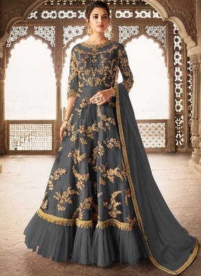 Grey Embroidered Net Semi Stitched Salwar With Dupatta