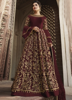 maroon embroidered net semi stitched salwar with dupatta