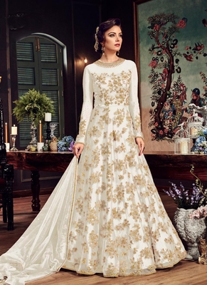 White Embroidered Net Semi Stitched Anarkali  With Dupatta