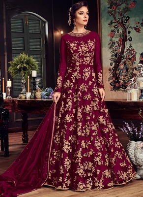 Burgundy Embroidered Net Semi Stitched Anarkali With Dupatta