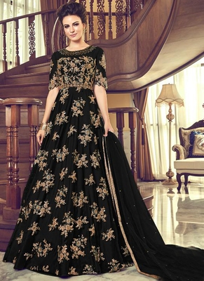 black embroidered net semi stitched salwar with dupatta