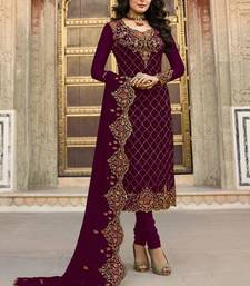 Maroon Embroidered Georgette Semi Stitched Kameez  With Dupatta