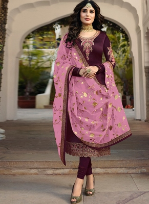 Purple Embroidered Satin Semi Stitched Salwar With Dupatta