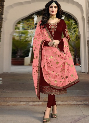 maroon embroidered satin semi stitched salwar with dupatta