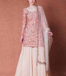 Pink Embroidered Satin Semi Stitched Kameez With Sharara