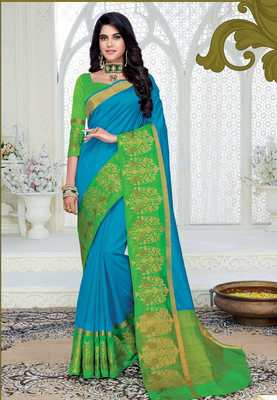Blue woven dupion silk saree with blouse