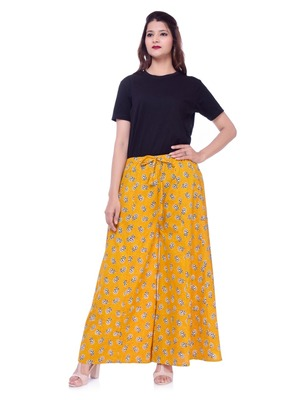 Yellow Printed Cotton Ethnic Wear Women