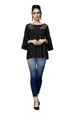 Blissta Women's Embroidered Black Slub Rayon Western Wear Tunic Top for Women/Girls