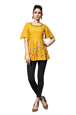 Blissta Women's Embroidered Yellow Slub Rayon Western Wear Tunic Top for Women/Girls