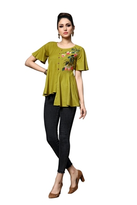 Blissta Women's Embroidered Mahendi Green Slub Rayon Western Wear Tunic Top for Women/Girls