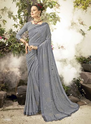 Silver embroidered georgette saree with blouse