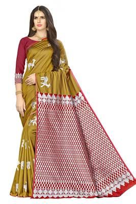 Mustard woven banarasi saree with blouse