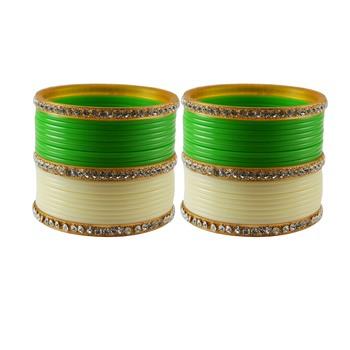 Green Cream  Stone Stud Acrylic Bangle
