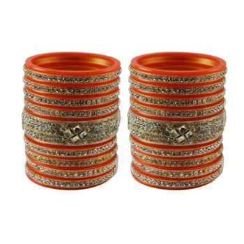 Orange Stone Stud Acrylic Bangle