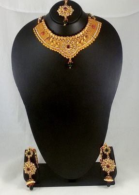 Gold Plated Bridal Necklace Earrings Set