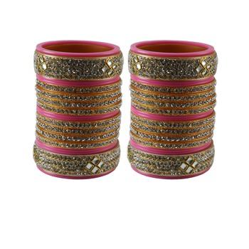 Pink Stone Stud Acrylic Bangle