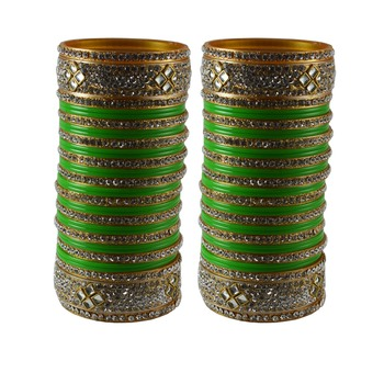 Light Green Stone Stud Acrylic Bangle