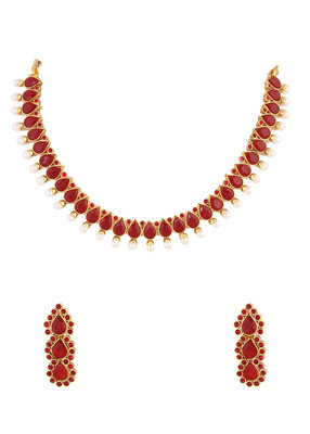 70f6b36ce5 Red Ruby Stone Indian Necklace Set - Adoreva - 409489