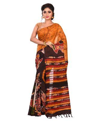 Multicolor Women's Handloom Batik Saree  with Blouse Piece