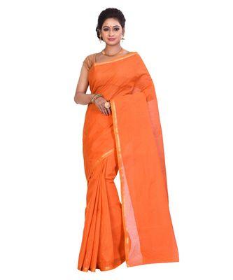 Orange Cotton Tant Saree With Blouse Piece