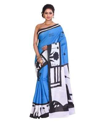 Multicolor Cotton Printed Saree Without Blouse Piece