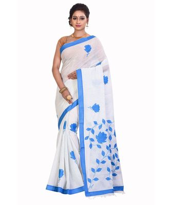 White Cotton Printed Saree Without Blouse Piece