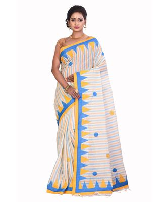 White Cotton Printed Saree Without Blouse Piece