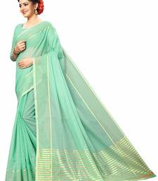 Green printed super net saree with blouse