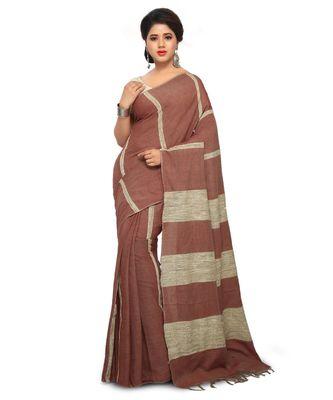 Maroon Handloom Cotton Ghicha Saree With Blouse Piece