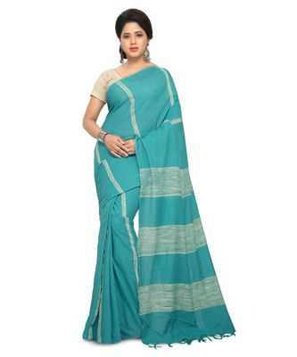 Blue Handloom Cotton Ghicha Saree With Blouse Piece
