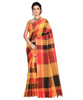 Multicolor Women's Fulia Cotton Saree Without Blouse Piece