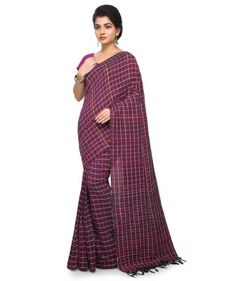 Magenta Shantiniketani pure cotton khesh Cotton Saree  With Blouse Piece