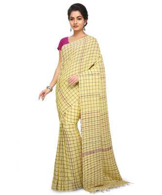 Yellow Shantiniketani pure cotton khesh Cotton Saree  With Blouse Piece