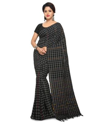 Black Shantiniketani pure cotton khesh Cotton Saree  With Blouse Piece