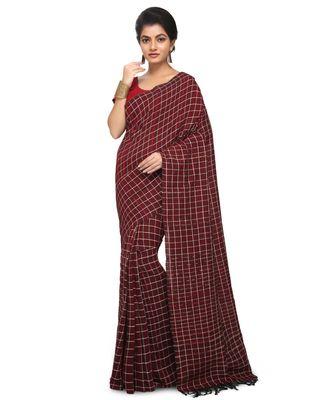 Maroon Shantiniketani pure cotton khesh Cotton Saree  With Blouse Piece