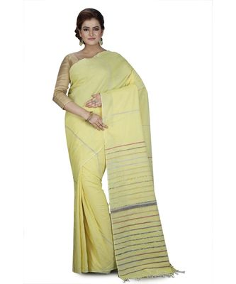 Yellow Shantiniketani pure cotton khesh Cotton Saree  With Blouse Piece