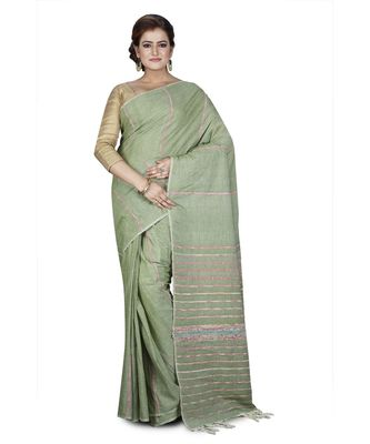 Green Shantiniketani pure cotton khesh Cotton Saree  With Blouse Piece